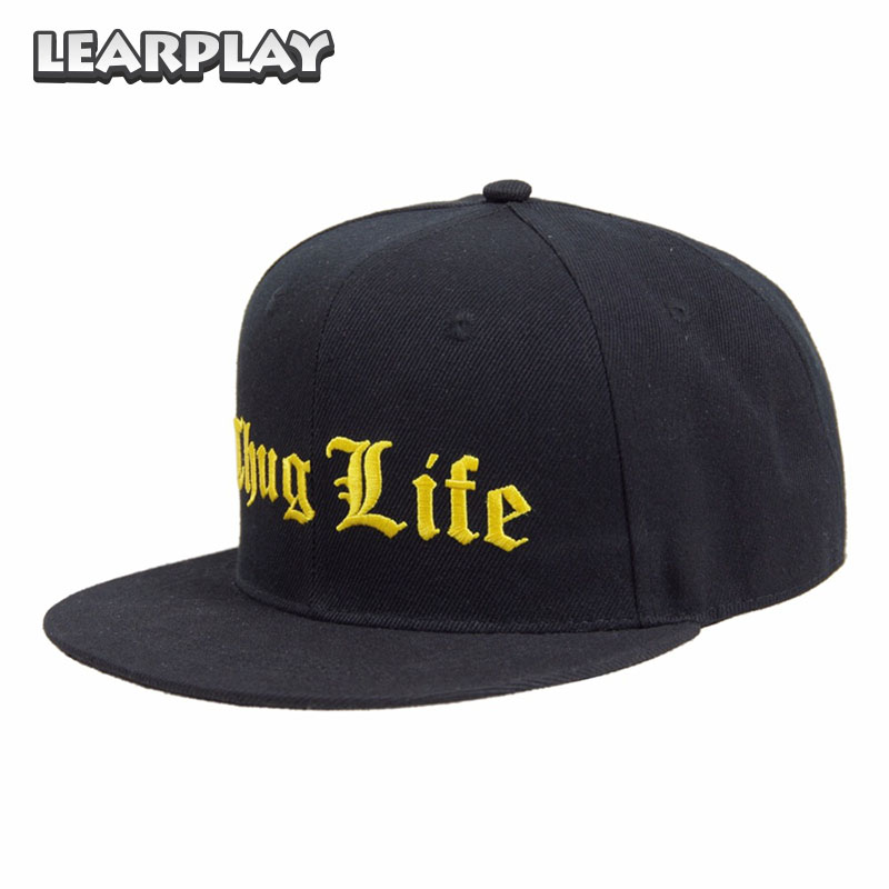 Thug Life Hip Hop Hat Black Baseball Cap Summer Sun Outdoor Rock Rap hats for Kids Teenagers Adult Men Women Costume Accessories