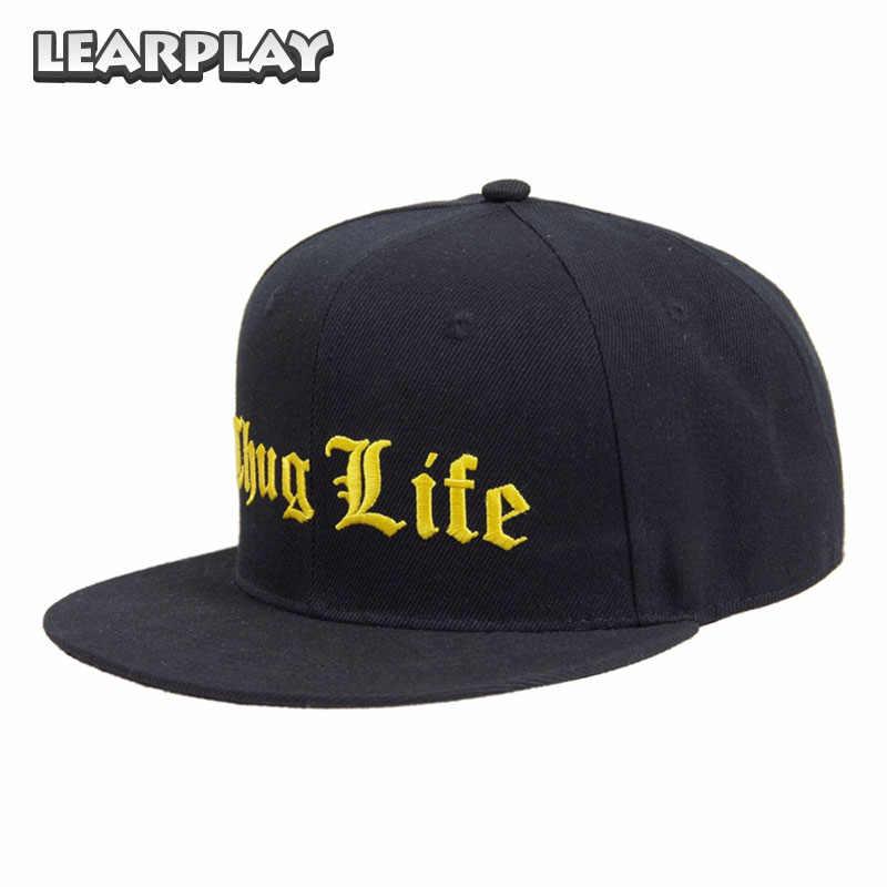 e891a2bb438 Thug Life Hip Hop Hat Black Baseball Cap Summer Sun Outdoor Rock Rap hats  for Kids