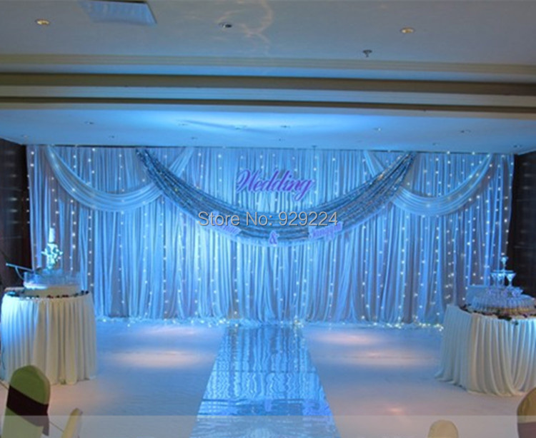 3m*6m Wedding Stage Backdrop with Beatiful Swag Wedding drape and curtain wedding decoration stage background