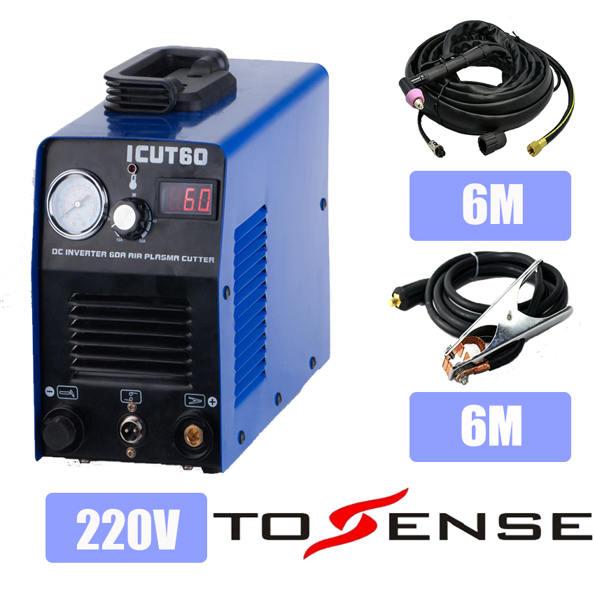 220V Single Voltage Plasma Cutting Machine ICUT60 With Plasma Cutter AG60 Torch & Consumables Nozzles & Longer Ground Clamp happy shopping plasma plasma cutter sg55 finished torch 17 feet longer accreditation