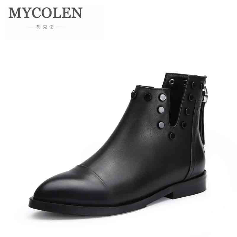 MYCOLEN 2018 New Arrivals Genuine Leather Chelsea Boots For Woman Top Quality Low Heel Comfortable Retro Female Ankle