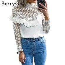 BerryGo Hollow out sexy lace blouse shirt 2017 Autumn winter long sleeve white blouse women top Elegant ruffle female blouse