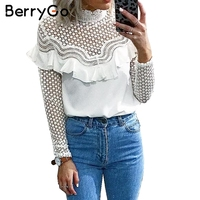 BerryGo Hollow Out Sexy Lace Blouse Shirt 2017 Autumn Winter Long Sleeve White Blouse Women Top