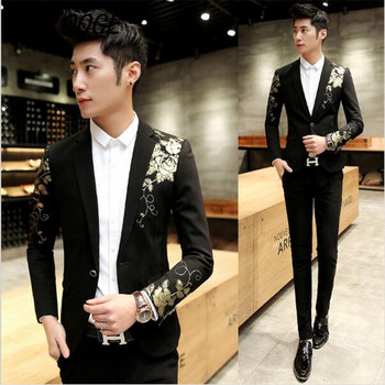 AILOOGE Blazers For Mens Prom Blazer 2017 Baroque Suits Terno Slim fit Royal Luxury Wedding Dress Suits Jaqueta Masculina