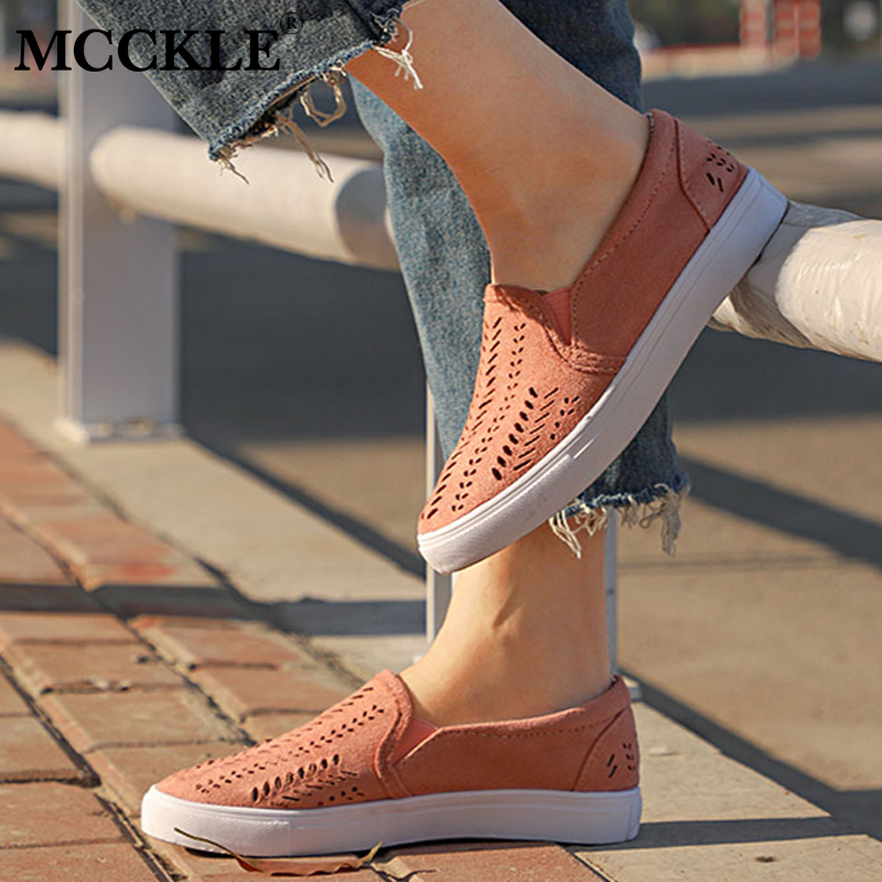 MCCKLE Summer Casual Flats Women Sneakers Plus Size Cut-outs Slip-on Elastic Band Ladies Loafers Flock Footwear Female Shoes women shoes flats female shoes slip on rabbit fur autumn winter casual loafers flock short plush plus size 43 black khaki gray
