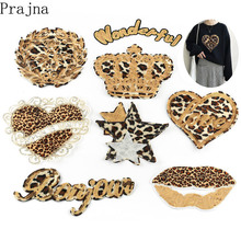 Prajna Leopard Heart Crown Patch Bling Sequin Lip Mouth Sew On Embroidered Patches For Clothes Stripes Jacket DIY