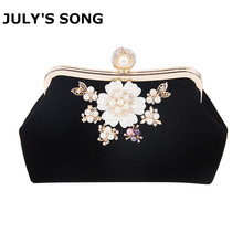 Lady Fashion Flowers Pearl Design Evening Clutch Bags Women Crystal Chains Shoulder Luxury Party Wedding Purse Handbag