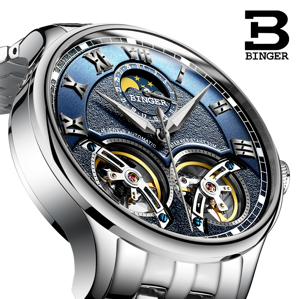 BINGER Skeleton Tourbillion Mechaniccal Watches Relogio Self Wind Luxury Full Steel Strap Business Mens Mechanical Watch 2017 binger full steel watch mechanical hollow transparent skeleton automatic self wind man reloj relogio wristwatch with rose gold