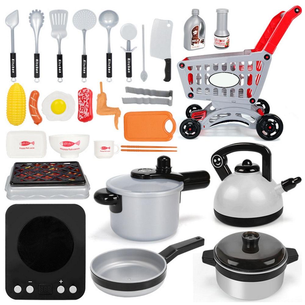 One Set Children Kitchen Cooking Utensils Accessories Play Toy Cook Pots Pans Cookware Kids Pretend Classic Toys Children Gift