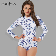 AONIHUA One Piece Swimsuit Women Long Sleeve Flower Print Swimming Suit Beach Surfing Womens Swimwear 1917