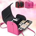Las mujeres de Maquillaje Organizador Tablilla de Múltiples Capas de Gran Capacidad Bolsa de Cosméticos Profesional Portátil Caja de Almacenamiento Maleta Bolso Mujer