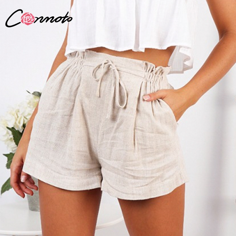 Conmoto Casual Beige Holiday Beach Lace up Thin Shorts Women 2019 Summer High Street Stylish Elastic Waist Girl Shorts Plus Size-in Shorts from Women's Clothing