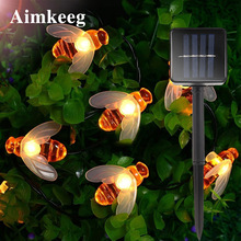 Solar Light Honey Bee LED String Lights Outdoor Waterproof LED Solar Garden Light Fence Patio Christmas Garland Lights