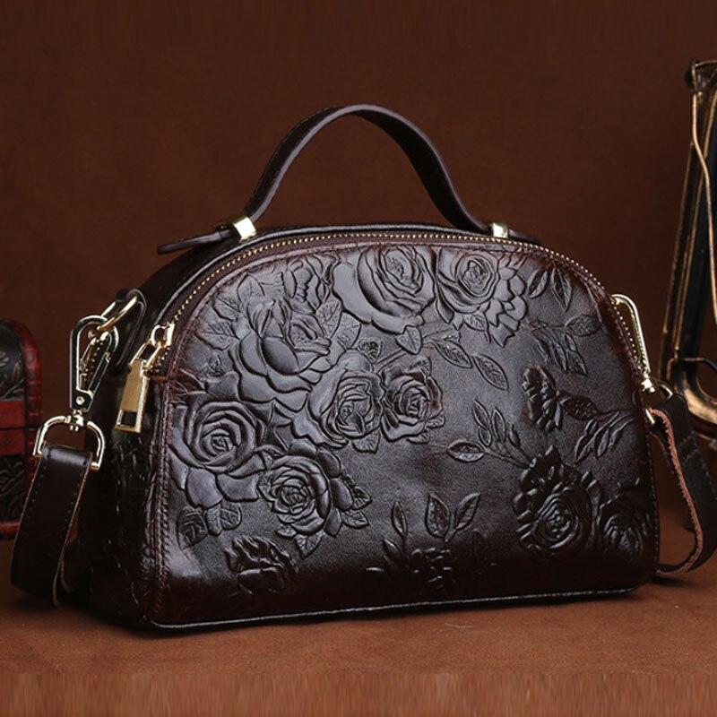 Sac à main Vintage en cuir véritable gaufré huile de vachette motif Rose sac fourre-tout femmes épaule bandoulière Messenger sacs