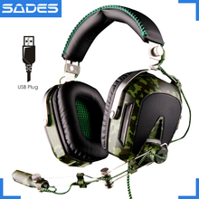 High quality SADES A90 usb 7 1 surround sound professional big gaming headphones with microphone breathing