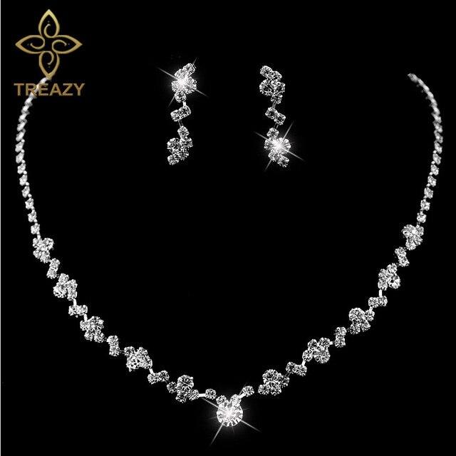 TREAZY New Silver Plated Crystal Choker Necklace Earrings Set Wedding Bridal Bri