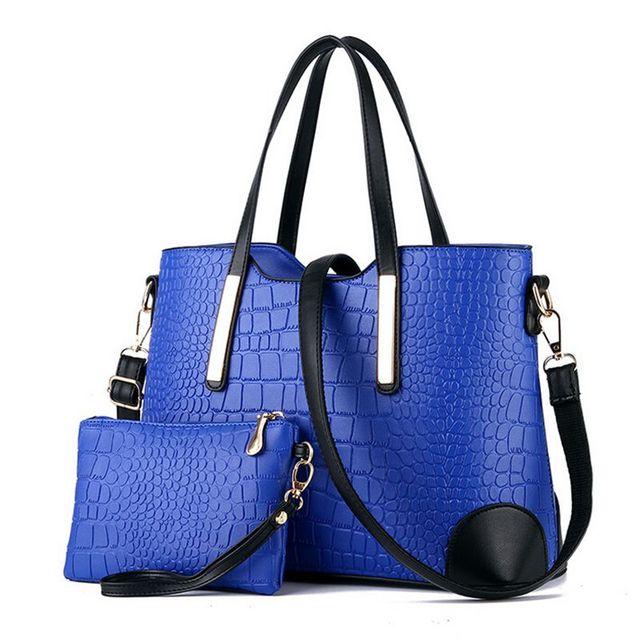 Women handbag leather hand bag crocodile shoulder messenger bags Women tote Bag + purse - Set of 2 3