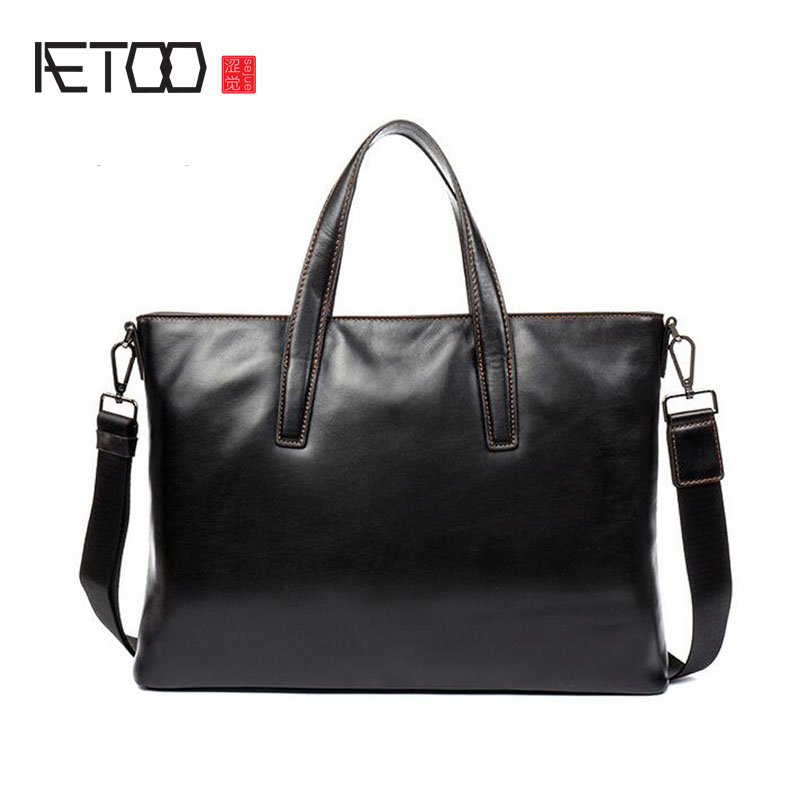 AETOO First layer of leather briefcase leather handbag business package men bag cross section shoulder Messenger bag aetoo first layer of leather foreign trade shoulder oblique cross package leather square notebook handbag business briefcase men