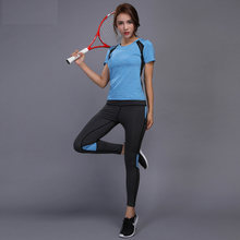 Femme vêtements de Sport ensemble de Yoga Patchwork Sport costume respirant Fitness vêtements salle de Sport course Jogging entraînement Yoga t-shirts + pantalons vêtements de Sport(China)