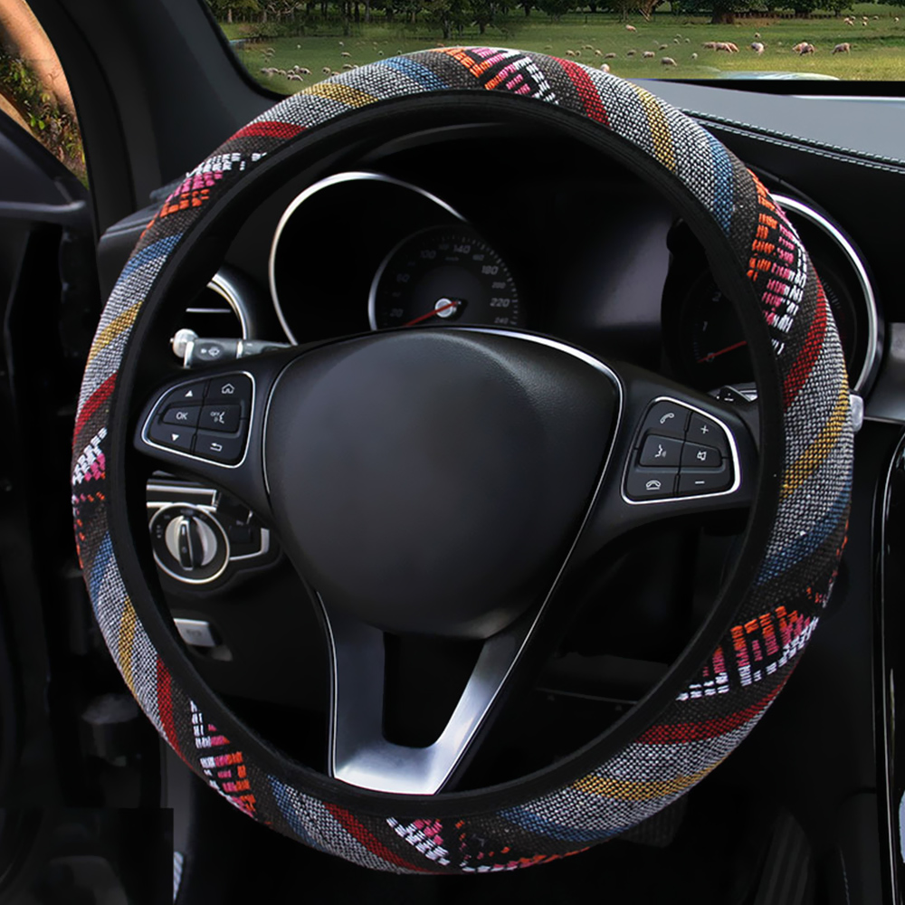 Image 2 - FORAUTO Elastic Car Steering Wheel Cover Ethnic Style Car Steering wheel Covers Auto Decoration Car Accessories Linen Universal-in Steering Covers from Automobiles & Motorcycles