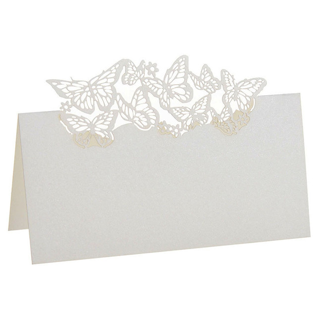 12pcs lot laser cut paper ivory butterfly cut out name place card wine glass cup