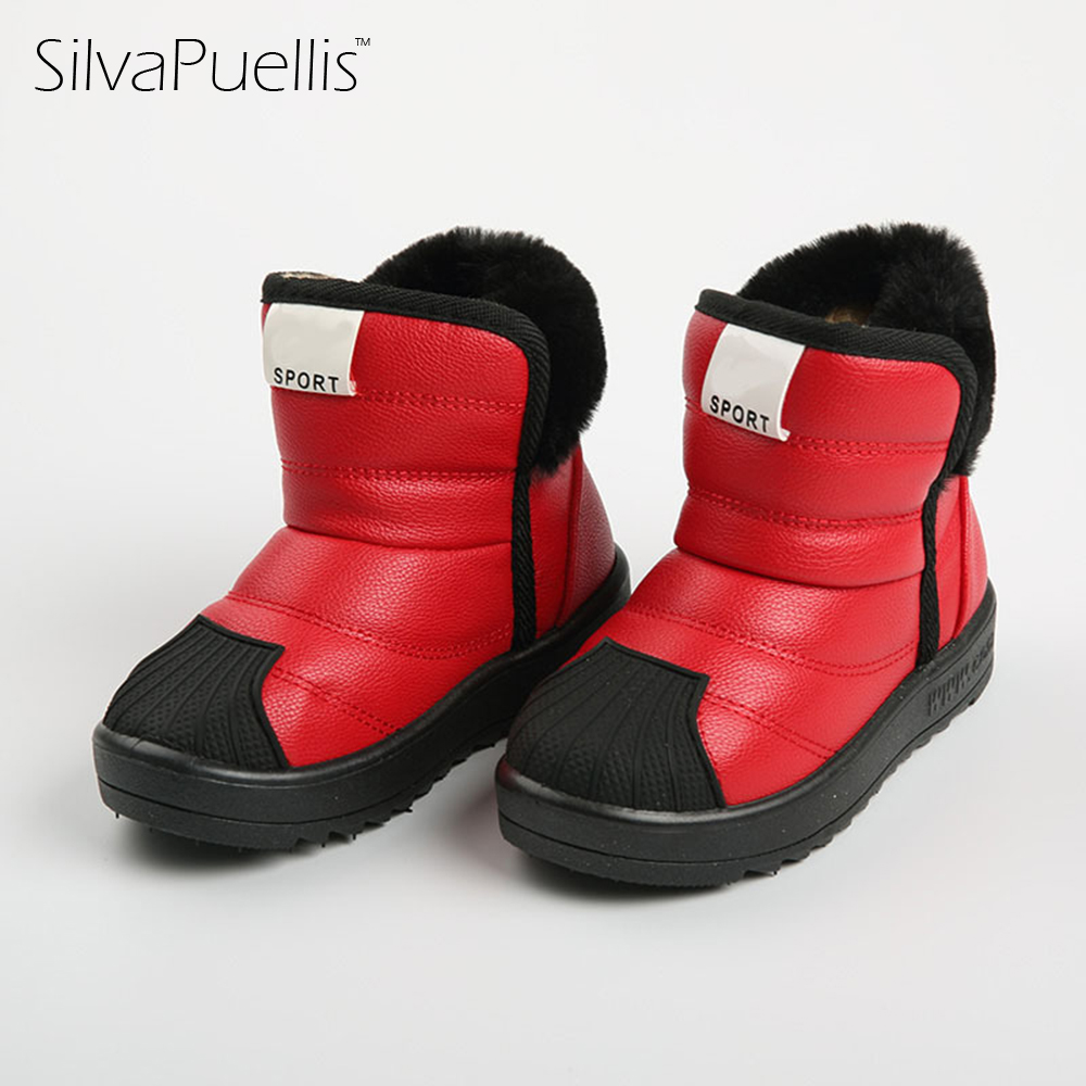 SilvaPuellis Children Snow Boots 2017 New Winter Boys And Girls Boots Thick Children's Shoes Baby Snow Boots Girls Rubber Boots 2014 new autumn and winter children s shoes ankle boots leather single boots bow princess boys and girls shoes y 451