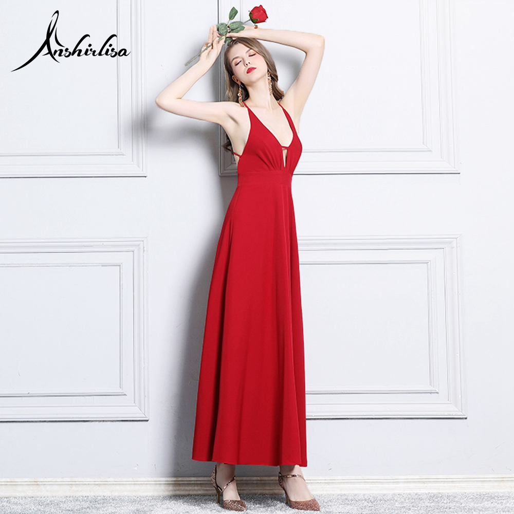 Anshirlisa Women's Sexy Backless Evening Satin Dress Long A line Elegant Beach Party Gown Spaghetti Strap Birthday Prom Dress