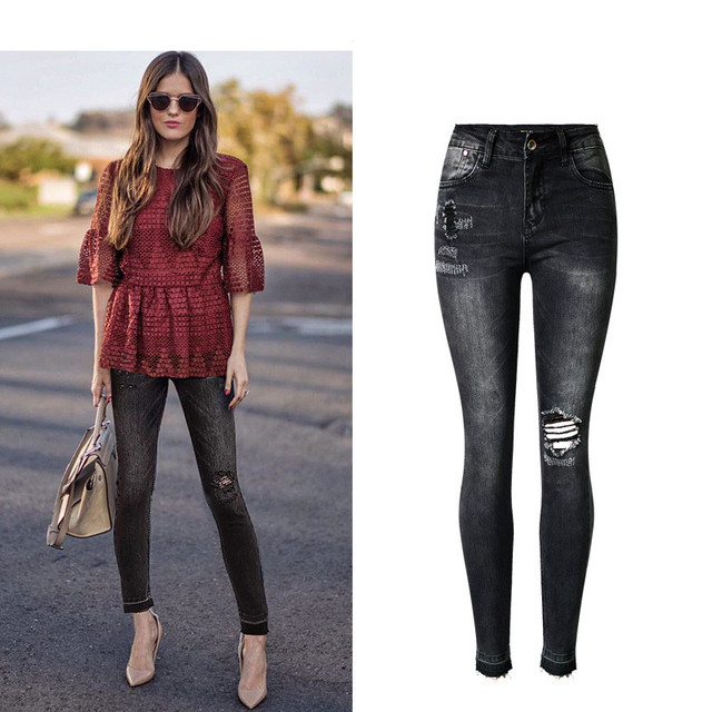66965375fd1 Women Jeans High Waist Denim Washed Black Jeans Summer Style Sexy Scratched  Skinny Pants Femme Fashion Ripped Jeans For Ladies