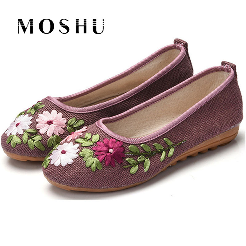 Designer Women Ballet Flats Flower Casual Shoes Comfortable Summer Shoe Cotton Slip on Canvas Espadrilles Chaussure Femme new women chinese traditional flower embroidered flats shoes casual comfortable soft canvas office career flats shoes g006
