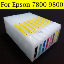 Refillable ink cartridge for epson 7800 cartridge 9800 cartridge for Epson wide format printer with 7800 9800 chip resetter good cartridge for epson 9600 7600 printer with t5441 t544 544 ink cartridge and chip resetter