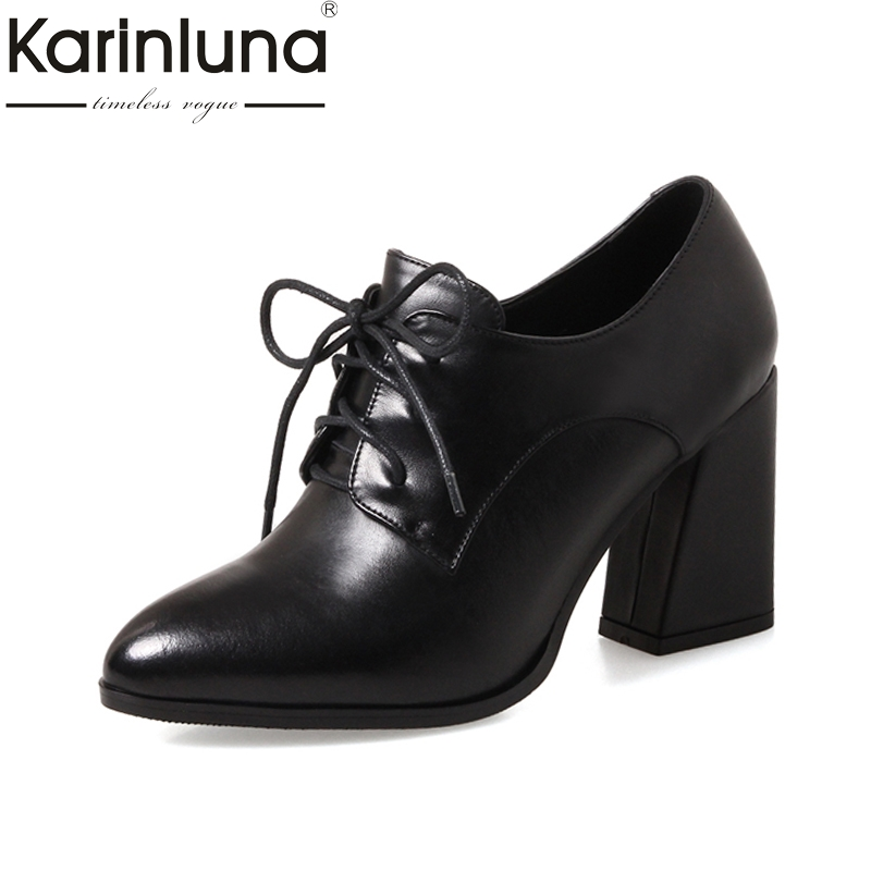 KarinLuna Genuine Leather 2018 New Fashion Large Sizes 33-43 Square Heels Women Shoes Woman Sexy Lace Up Pointed Toe Pumps цена