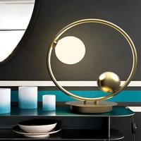 Black / Gold Body Postmodern Loft Table Lamp Creative Study Bedroom Studio Hotel Light Designer Led Glass Ball Light
