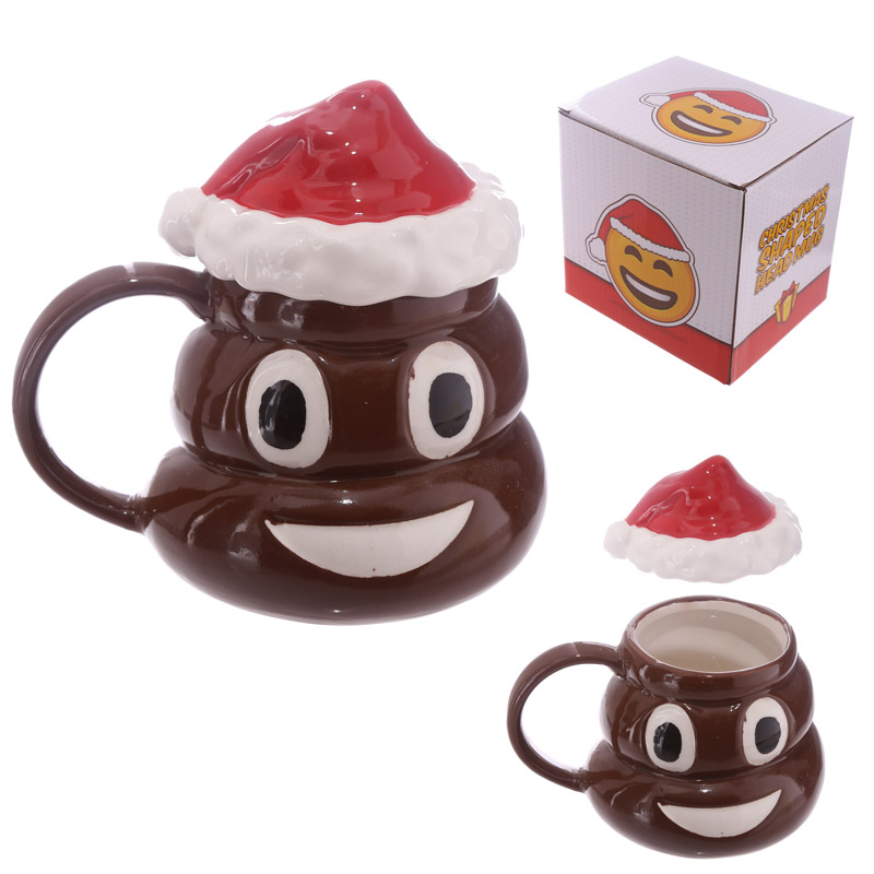 1piece christmas poop mug with lid emoji mugs emoticon smiley coffee mug coffee makes me poop office coffee cup in mugs from home garden on aliexpress com