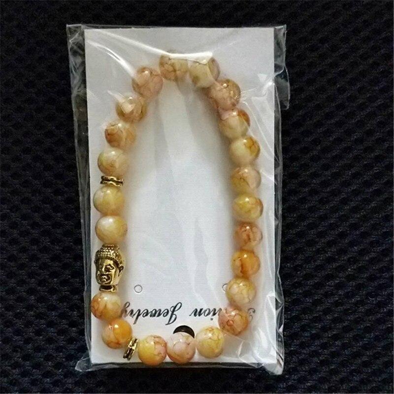 Hot Classic Gold Kleur Boeddha Hoofd Natuursteen Armbanden Mannen Multicolor Yoga Kralen Armband Voor Vrouwen Gift Sieraden Groothandel