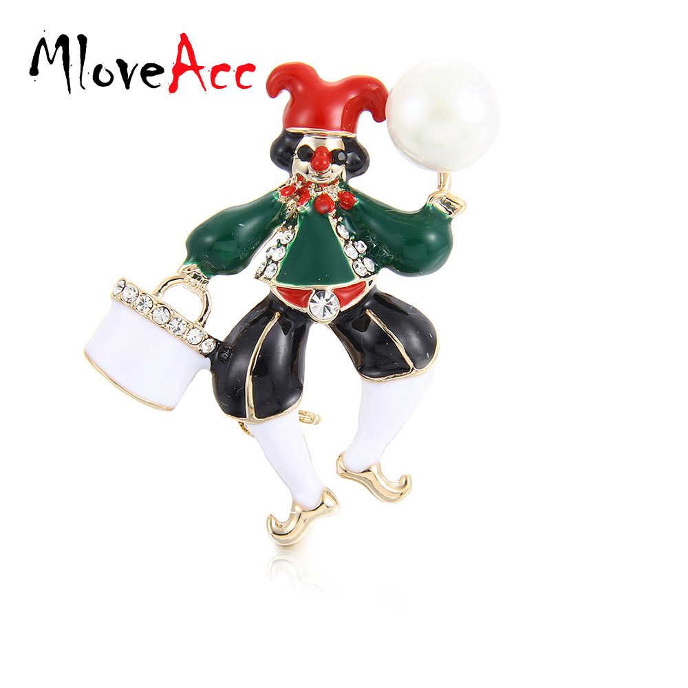MloveAcc Imitation Pearl Brooch Pin Enamel Circus Clown Brooches - Fashion Jewelry