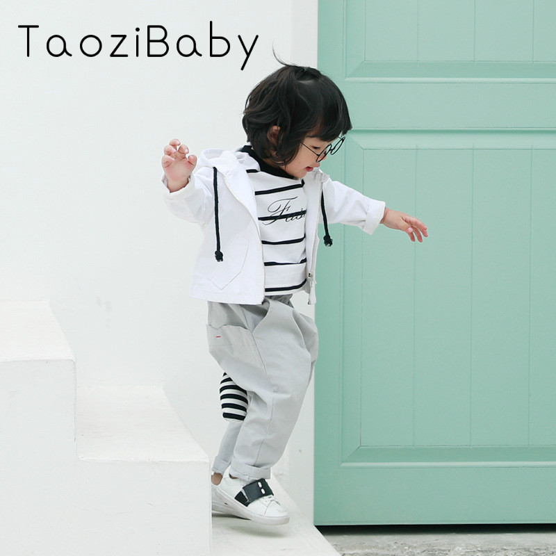 2018 Spring Boys Coat Korean Cartoon Print Coat Long Sleeved Zipper Children outwear kid ...