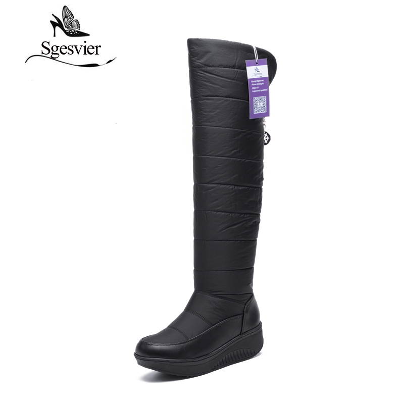 SGESVIER Over-the-knee Women Snow Boots Winter Waterproof Long Boots Space Cotton Warm Plush Thick Heel Black Women Shoes OX127 yougolun woman nubuck winter over the knee snow boots 2018 women thigh high boots ladies square heels thick plush warm shoes