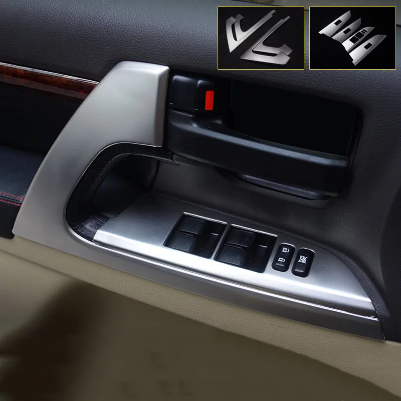 304# Stainless Steel Interior Door Handle Cover Switch Trims For Toyota Land Cruiser 200 LC200/FJ200 2016 2017 2018 Accessories