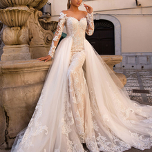 Fmogl Long Sleeve Mermaid Wedding Dresses Detachable Train