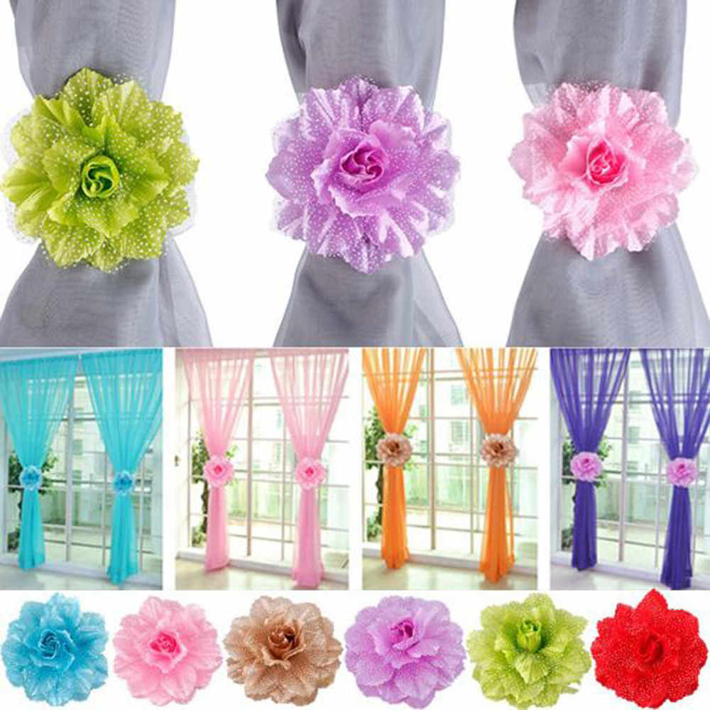 2Pcs/Set  Curtain Decorative Flower Rings Buckle Peony Curtains Clip-on Tie Backs Holdback Holder Panel Tieback Accessories F419
