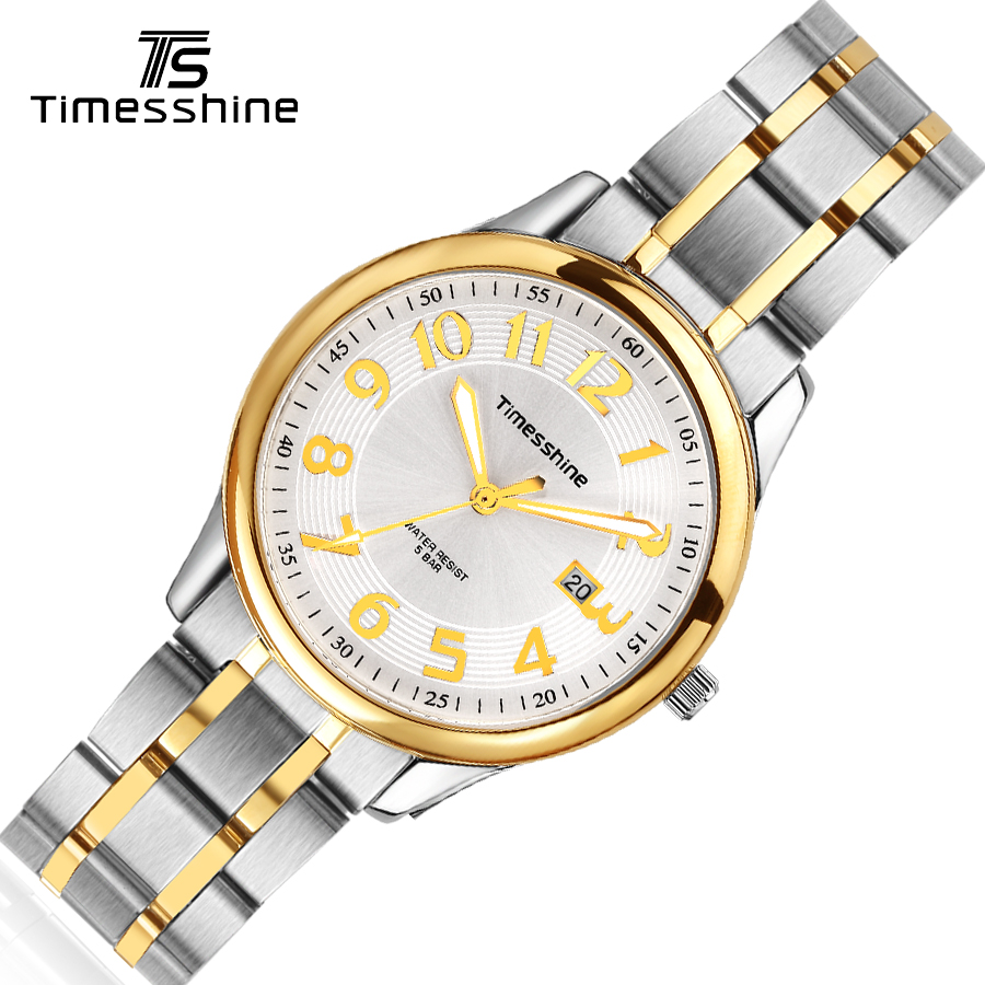 Timesshine wristwatch mens Stainless Steel 5ATM Waterproof men's watch sports Quartz Watch Gold number Watches TSM1509