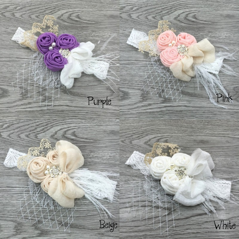 12pcs lot Satin Flower Matching Sparking Rhinestone Pearls on Lace Headband Baby Headband Vintage Headband