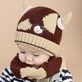 2016 Coreano Dois chifres de Vaca crianças meninos Malha chapéus de inverno 2 pcs bebê menina conjunto chapéu cachecol Idade por 6 meses-4 Anos MZ4169