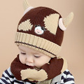 2016 Korean Two Cow horns kids boys Knitted hats winter 2 pcs baby girl scarf hat set Age for 6 months-4 Years MZ4169