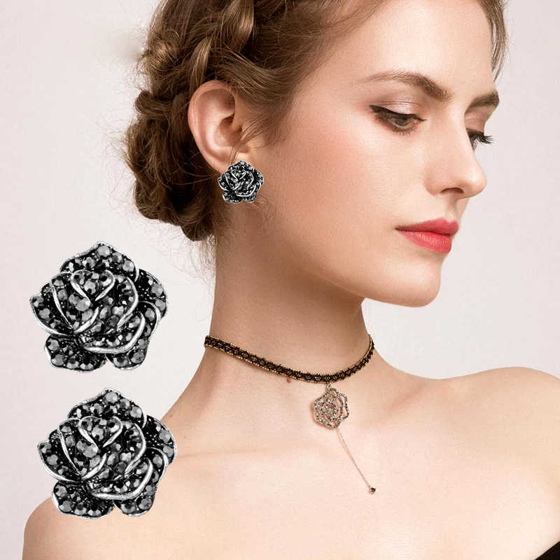 SINLEERY Cubic Zirconia Rose Flower Earrings For Women Silver Gold Color Blue Zircon Earrings Vintage Jewelry ES545 SSH