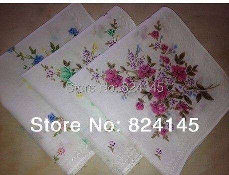 Ladies Handkerchiefs Cotton Flower Child's Woman Pocket Towel Handkerchief 28CM 2PCS/LOT