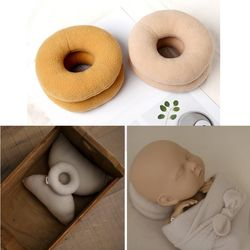 2pc Newborn Photography Props Posing Support Pillow Baby Boy Girl Photo Shoot Studio Round Donut Head Poser Props