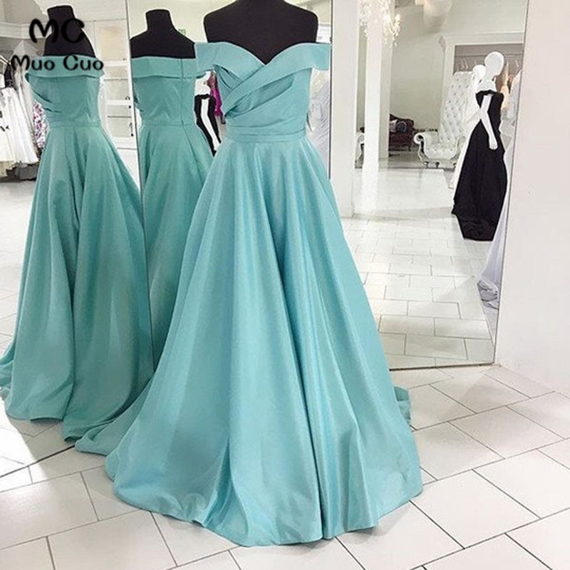 Simple 2018 A-Line Off Shoulder   Evening     Dresses   Long Satin Zipper Back Short Sleeve Prom Gown Formal   Evening   Party   Dress
