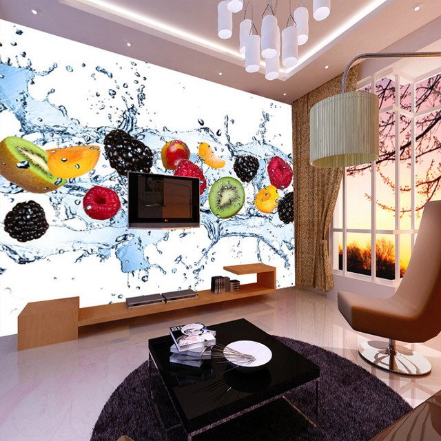 Custom 3d Large Mural Fruit Shop Fruit Cold Tea Ice Cream Shop Cafe