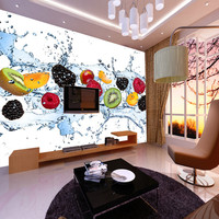 Personalizado 3d grande mural loja de fruta frutas chá frio de gelo creme shop cafe pano de fundo de papel de parede 3d para sala de estar wallpapers 3D